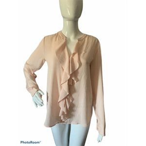 Banana Republic Womens XS Pink Ruffle Front Blouse